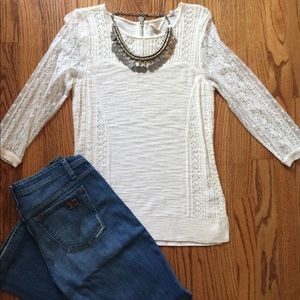 Anthropologie Cream Lace/Knit Top